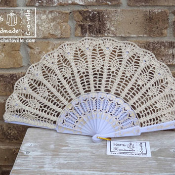 Crochet HAND FAN in Natural, Ecru, Wedding Accessory, Bride Bouquet, Photo prop, Made in USA