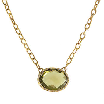 Lemon Topaz and Diamond Necklace