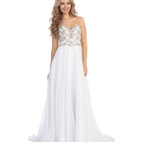 White Empire Waist Grecian Beaded Dress 2015 Prom Dresses