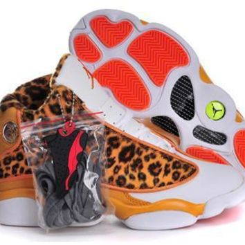 Hot Nike Air Jordans 13 Women Shoes Leopard Print Orange White