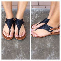 Black Olympia Cut Out Sandals