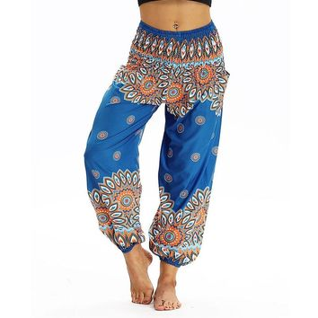 Women High Waist Yoga Harem Pants Loose Palazzo Pants Parachute Smocked Waist With Pockets Patiala Thai Sweatpants Beach Pants