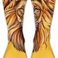 Lion Head Pattern Knee Socks For Man&women Boots Socks Winter High Graduated Compression Sox,for Running & Fitness&Yoga Indoor Office