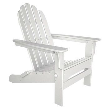 Folding Wooden Adirondack Chair with Armrests in White Wood Finish