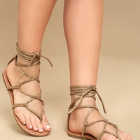 Emilia Beige Suede Lace-Up Flat Sandals