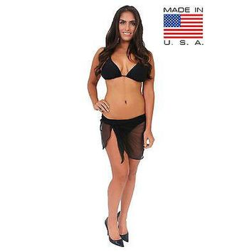 Women's Ultralight Short Mesh Sarong Cover Up Wrap Pareo Made in the USA