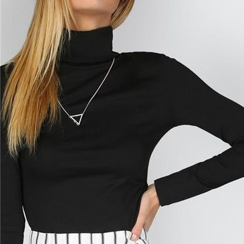 Ribbed Slim Fit Turtleneck