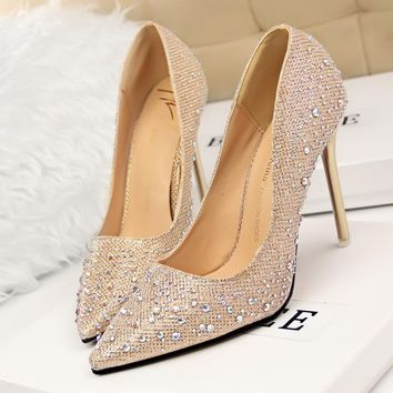 Silver Rhinestone Wedding Shoes Platform Pumps Red Bottom High Heels Crystal Shoes