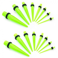 2 Sets Taper Stretcher Expander Piercing Plug for Flesh Tunnel Acrylic 14 - 000 Gauge -16 pieces- 1,6 - 10 mm Green