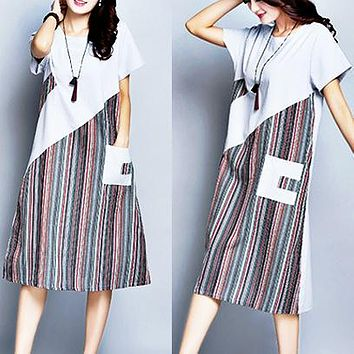 Summer new plus-size cotton and linen striped patchwork long linen short sleeve dress Grey Only 1 piece