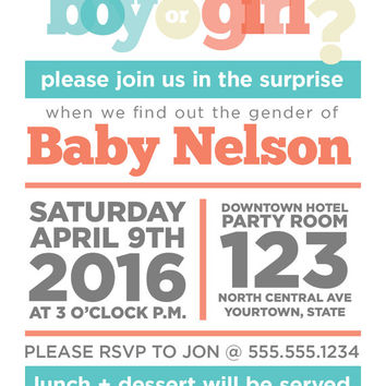 "ON SALE PRINTABLE 4"" x 5"" Gender Reveal Party Invitation"