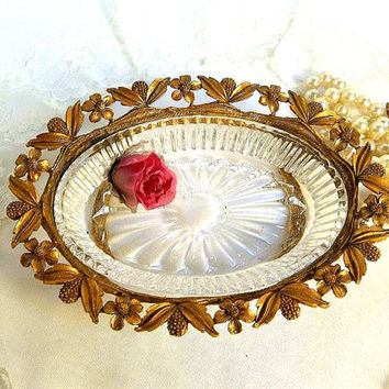 Antique ormolu footed trinket or soap dish, gold floral, vintage cast metal and pressed glass, tray, vanity dresser item