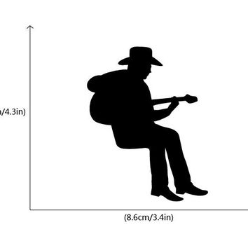 Cowboy Playing Guitar Silhouette Light Switch Sticker