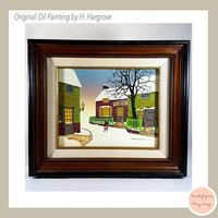 Vintage Oil on Canvas Original Artwork by H. Hargrove/ Signed Artwork/ Wall Decor / Rustic/ Wall Art