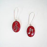 Music red earrings treble clef note. Musician jewelry ruby carmine rock jazz dance minimal teenager dangle long drop surgical custom color