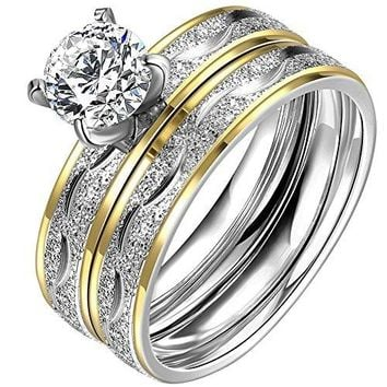 LWLH Jewelry Womens 18K Yellow Gold Plated Temperament Rings Set Solitaire Cubic Zirconia CZ Wedding Band