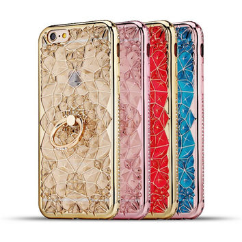 For Apple iPhone 7 6 3D Plating Glitter Flowers Case Soft TPU Diamond Ring Holder Cover For iPhone7 6s Plus Crystal Phone Bags