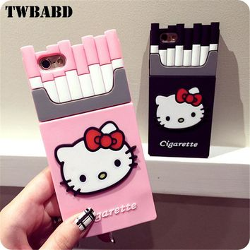 3D Cute Hello Kitty pattern Cigarettes Soft silicon Phone case For iPhone 6S Plus Soft Protective Shell For iPhone 5 5S SE Cover