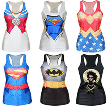 Many Famous Cartoon Pattern Printed Tank Tops Summer Sleeveless Harajuku Style Punk Camisoles