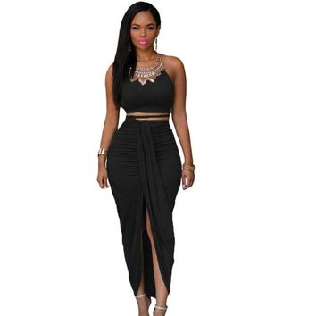 Vintage Party Cropped Top Maxi Skirt Set