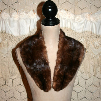 Vintage Mink Stole Brown Fur Scarf Collar Retro Fur Stole Winter Accessories Vintage Accessories Evening Accessories Authentic Fur Caplet