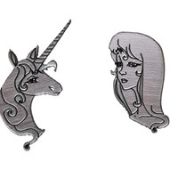 Amalthea as Human and Unicorn Earrings in Silver/Black