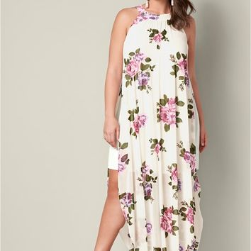 Printed Mesh Long Dress in Beige Multi | VENUS