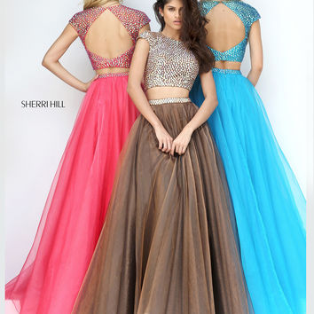 Sherri Hill 50561 Cap Sleeved Crop Top Prom Dress