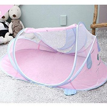 Portable Bed Baby Crib Mosquito Netting Pink