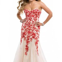 Miranda Red Evening Prom Dress Strapless Long Lace Appliques Gown Size 4-14 (4)