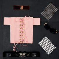 New style shoulder one word button chest cross knot lace up T-shirt Pink