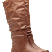 Cognac Faux Leather Go-To Slouch Boot