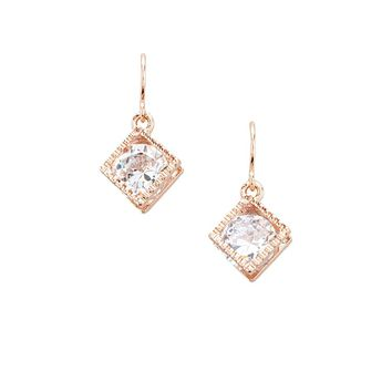 CZ Cube Drop Earrings