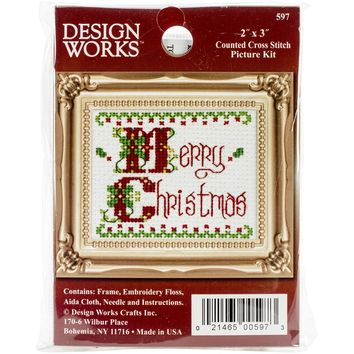 "Merry Christmas Ornament Counted Cross Stitch Kit-2""X3"""