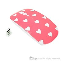 TopCase Heart-Shaped Design Pink USB Optical Wireless Mouse for Macbook (pro , air) and All Laptop + TopCase Designed Chevron Mouse Pad