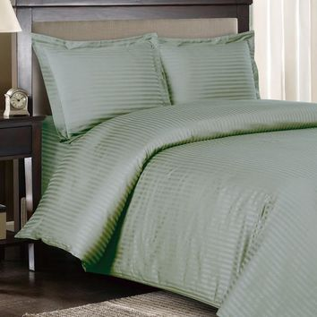 Stripe Sage-Green Down Alternative bed in a Bag 100% Combed cotton 600 Thread count