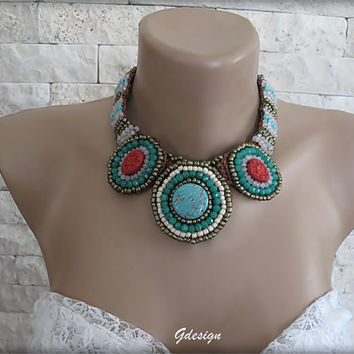 Authentic-ethnic Handmade semiprecious  stone necklace,colorful seedbeads,cyrstal beads,rown,citrine,green,ivory seed beads,authentic.OOAK