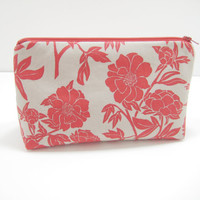Floral Cosmetic Bag, Zippered Accessory Pouch, Cosmetic Case, Red and Gray Peony Print, Ready to Ship