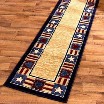 "Americana Patriotic Runner Rug 23"" x 88"" Country Cabin Lodge Farm Primitive NEW"