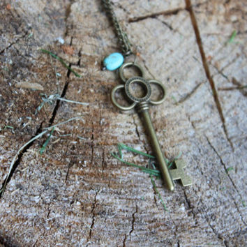Gold Key Necklace, Key Pendant Necklace, Boho Necklace, Key Jewelry, Gold Key, Turquoise Necklace, Gold Chain, Turquoise, Gold, Long