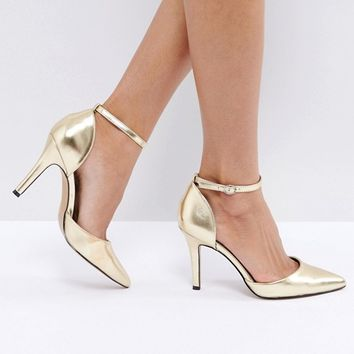 True Decadence Strap Point Gold Heeled Shoes at asos.com
