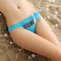 New Arrival Brand sexy Leopard lace bowknot g-strings thongs tangas panties for women panties female underwear women's briefs