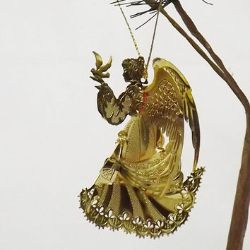 Vintage Angel Ornament, Gold Tone Metal, Christmas, Holiday decor, Decoration, Hanging Tree Ornament, Beautiful, Dove, Winged Angel