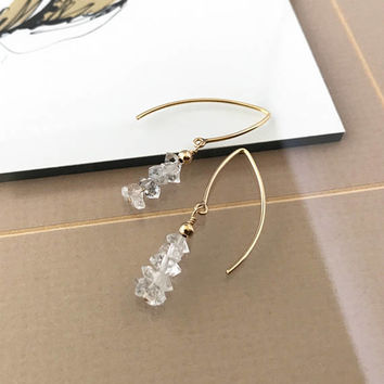 Herkimer Diamond Earrings, Gold Herkimer Diamond Earrings, Gold Raw Herkimer Diamond Earrings, Raw Herkimer Diamond Earrings