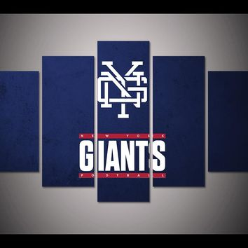 5 panel HD printed canvas painting sport New york GIANTS canvas print art home decor wall art picture for living room F0675