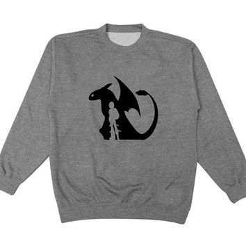 How To Train Your Dragon sweater Gray Sweatshirt Crewneck Men or Women for Unisex Size with variant colour