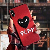 """""""Comme des garçon play"""" Stylish Chic Embroidery Mobile Phone Cover Case For iphone 6 6s 6plus 6s-plus 7 7plus 8 8plus X XsMax XR Red"""