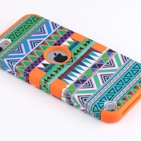 Pandamimi ULAK(TM) Hybrid Hard Aztec Tribal Skin with Soft Silicon Case Cover for Apple iPod Touch (Generation 5) + Screen Protector (Green Tribal Skin & Blue)