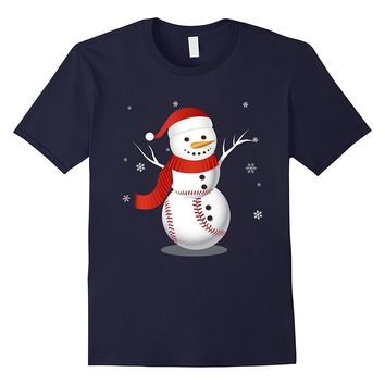 Merry Christmas with Snowman Baseball Funny T-Shirt