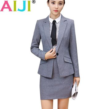 Autumn winter women work wear skirt suit set long sleeve slim formal blazer with pants OL office ladies plus size suits uniform